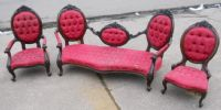 Victorian Style Carved Mahogany Three Piece Drawing Room Suite for Re-upholstery
